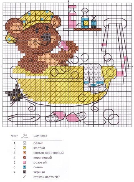 Схемы вышивки крестом ванна туалет