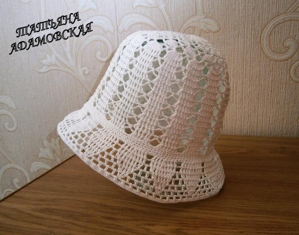 Летняя шляпка крючком для девочки 6-8 месяцев