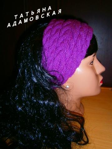 повязка спицами узором из кос