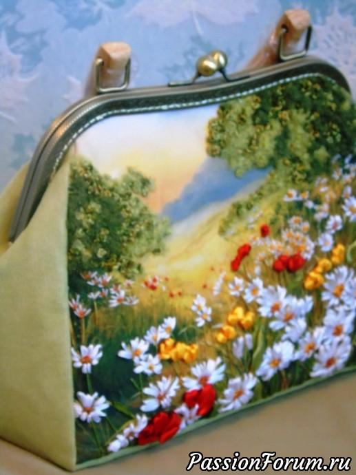 """Сумочка, вышитая лентами """"Лесная полянка"""", вышивка лентами, вышитые сумки, подарок, лето, сумки с вышивкой, эксклюзивные сумки"""