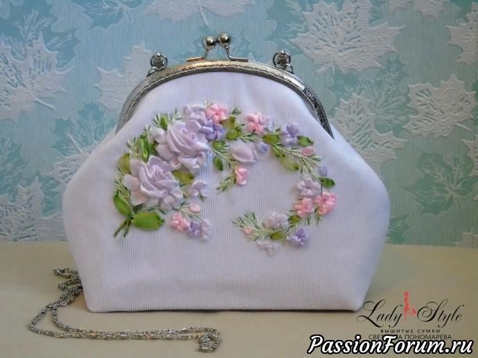 """Сумочка, вышитая лентами """"Неженка"""", вышитые сумки, вышивка лентами, сумки с вышивкой, подарок, ленты, цветы, стиль, элегантные сумки, авторская работа"""
