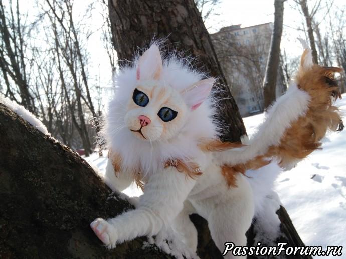 Крылатый кот., кукла, кукла в смешанной технике, мех иск., глина, интерьеная игрушка, игрушка из меха, перья