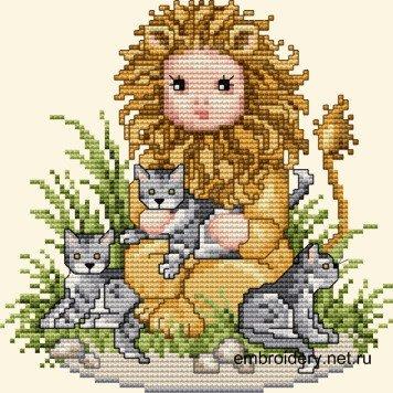 Львенок с кошками