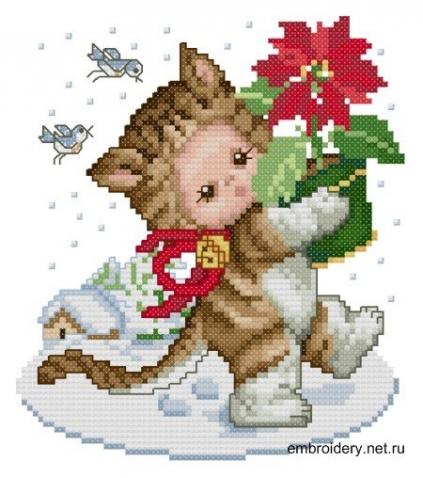 Котенок с рождественской звездой