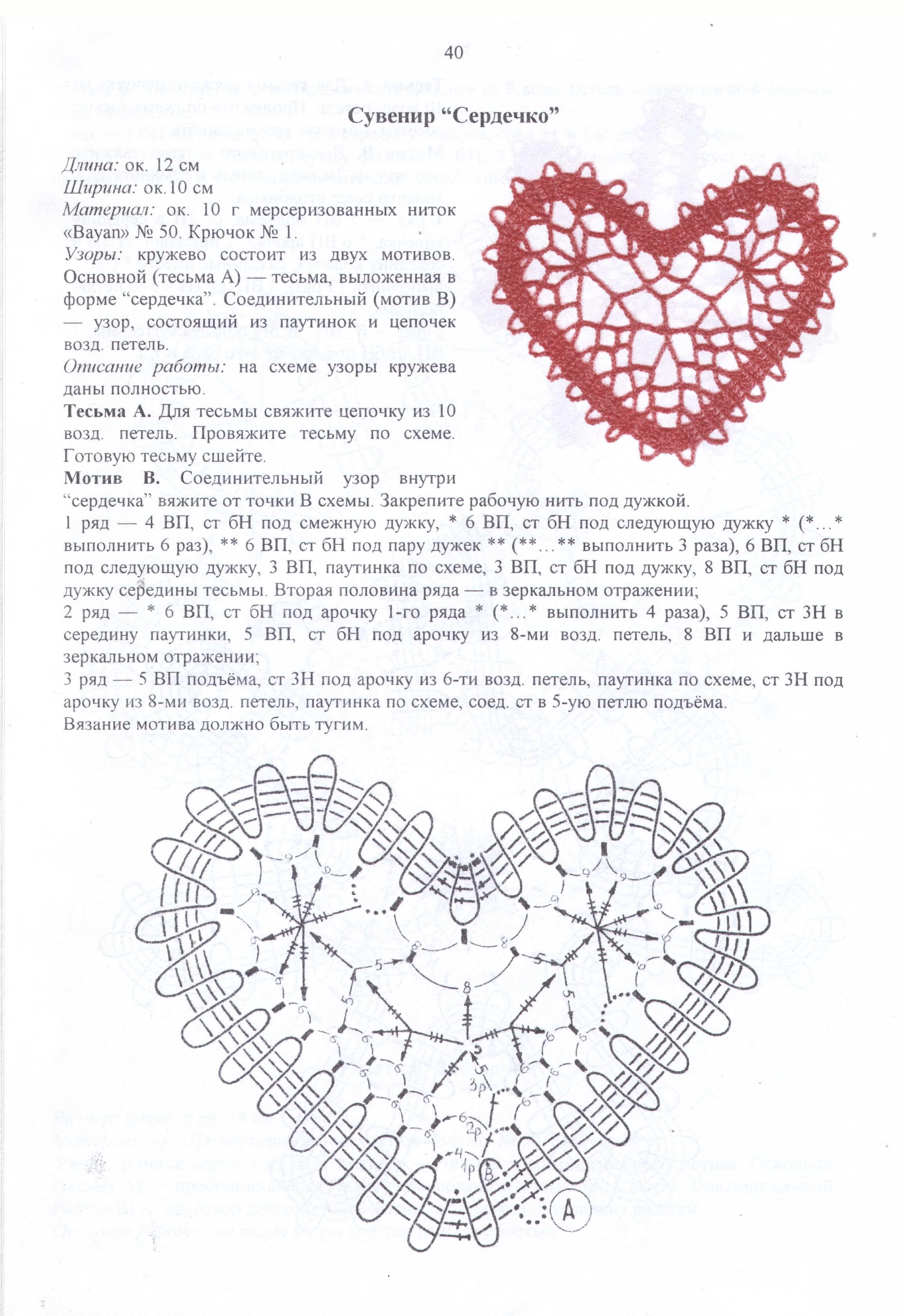 Вязание крючком сердце схемы и описание