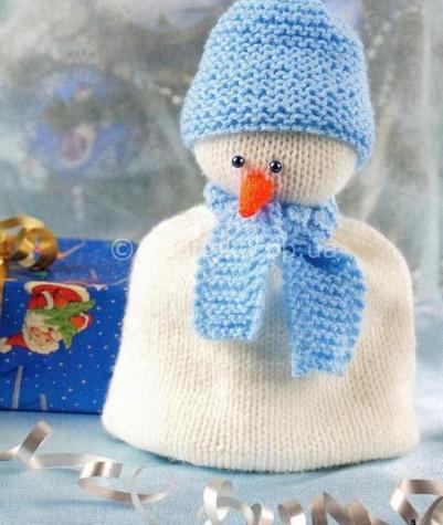Вяжем снеговика на чайник спицами