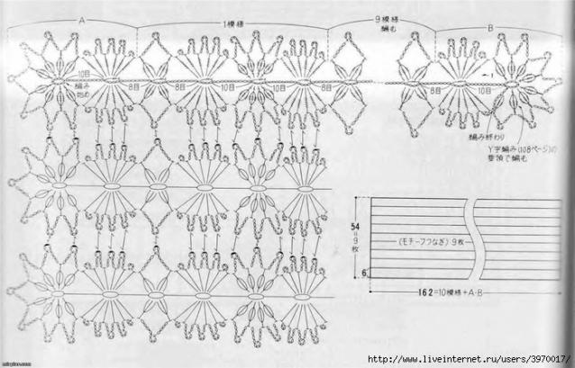 Вязание крючком схемы палантины японские 759
