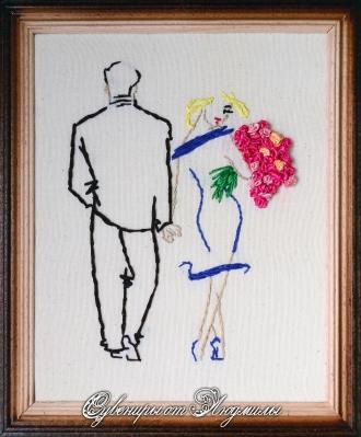 Романс о влюбленных вышивка готовая работа - Венок изобилия 87
