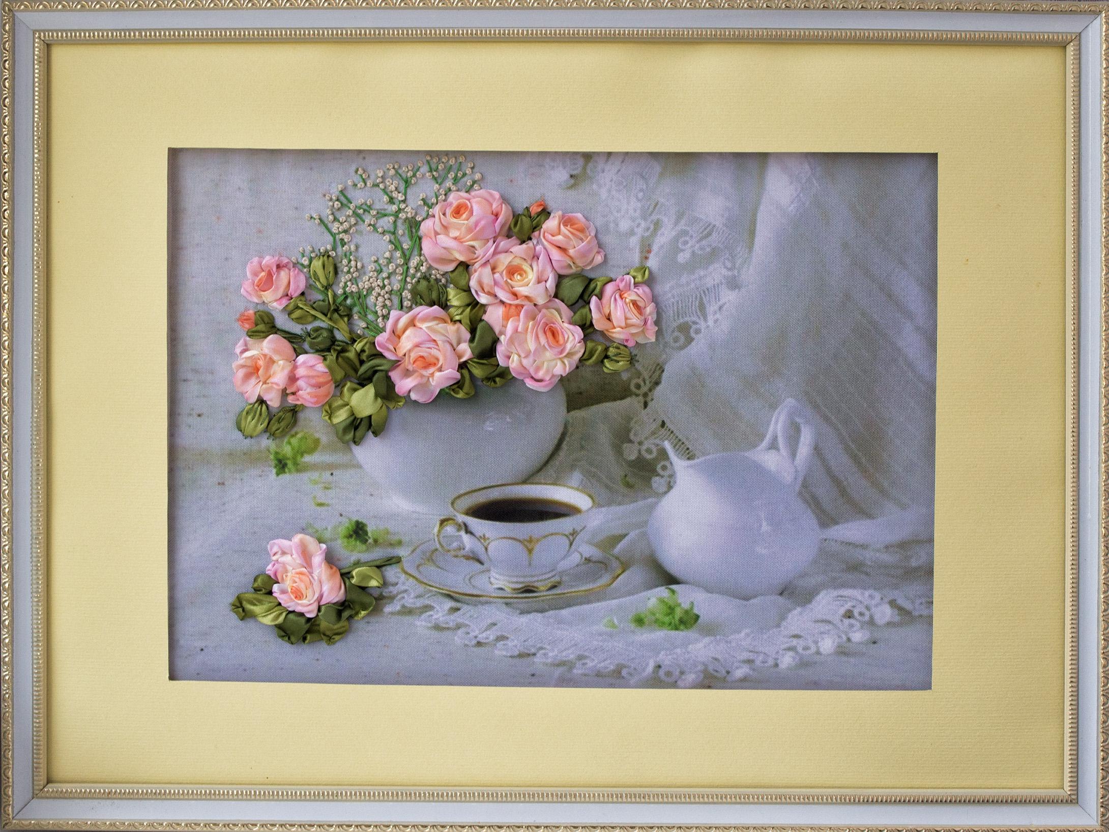Вышиваю лентами на радость себе и другим! натюрморт розы в в.