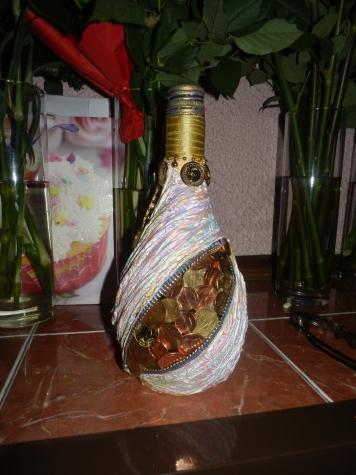 Денежная бутылка к юбилею.
