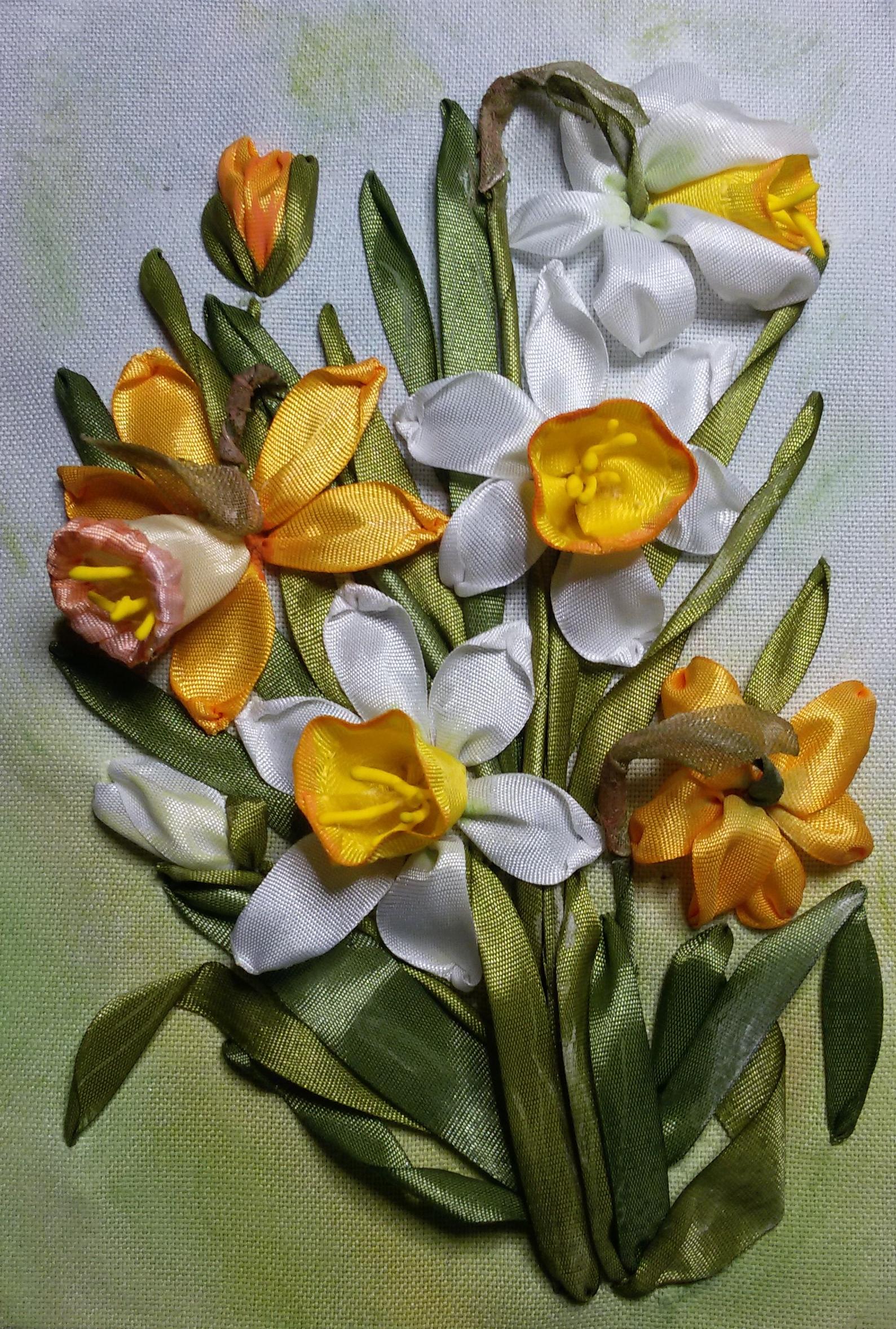 схема вышивка крестом цветы нарциссы