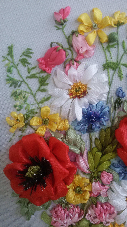 схема вышивания лентами полевые цветы