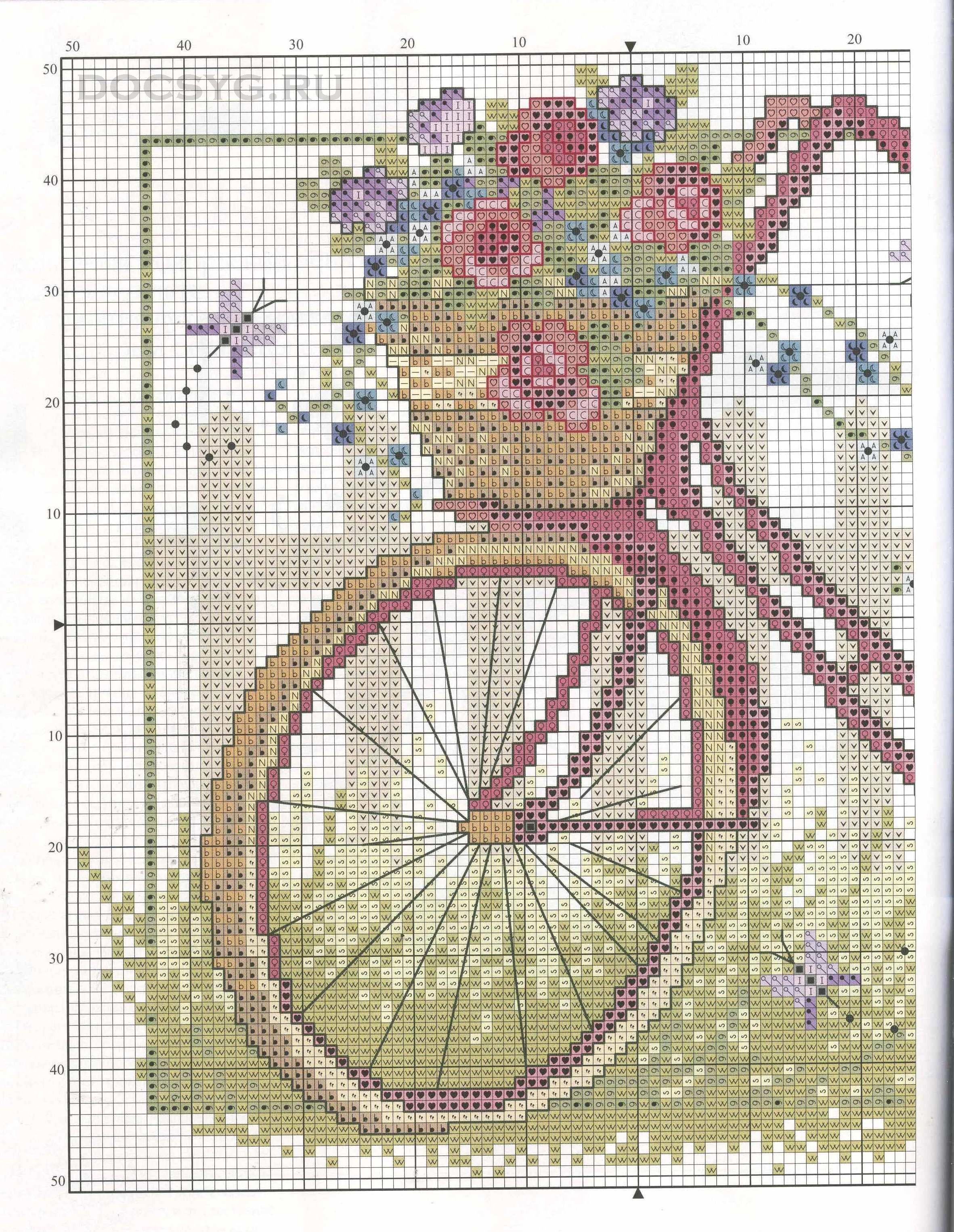 Велосипед с цветами вышивка крестом