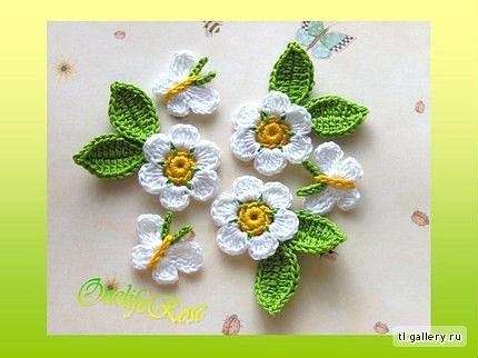Вязание цветка крючком на детские вещи