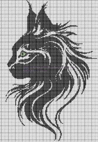 Вышивка крестом схемы кошек черно-белые
