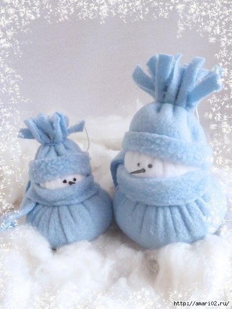 Новогодние поделки своими руками снеговик из ткани