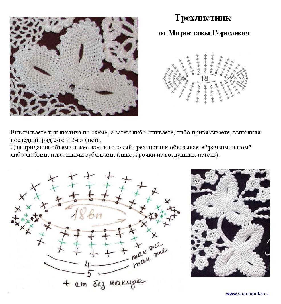 Вязание крючком листочков схемы и описание
