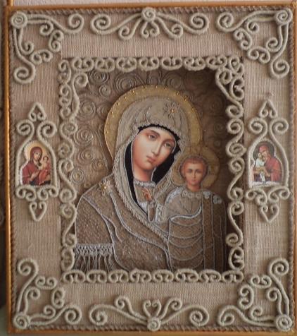 Макраме-иконa Казанской Божьей Матери