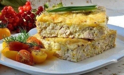 Легкий куриный пирог-запеканка (для завтрака)