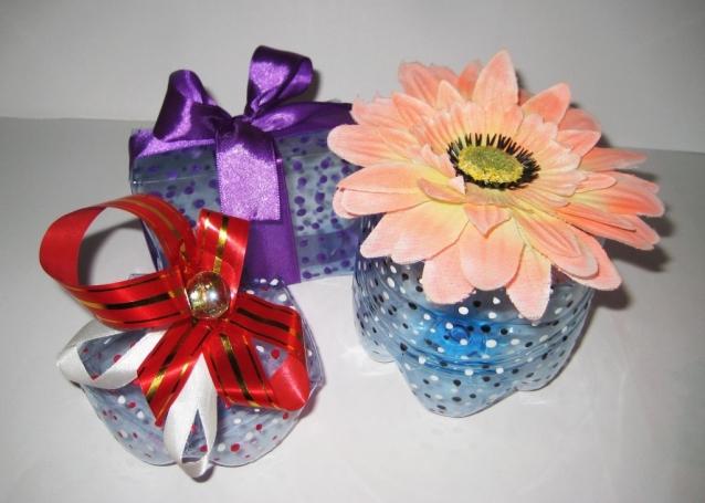 Упаковки для подарков из пластиковых бутылок. Мастер-класс