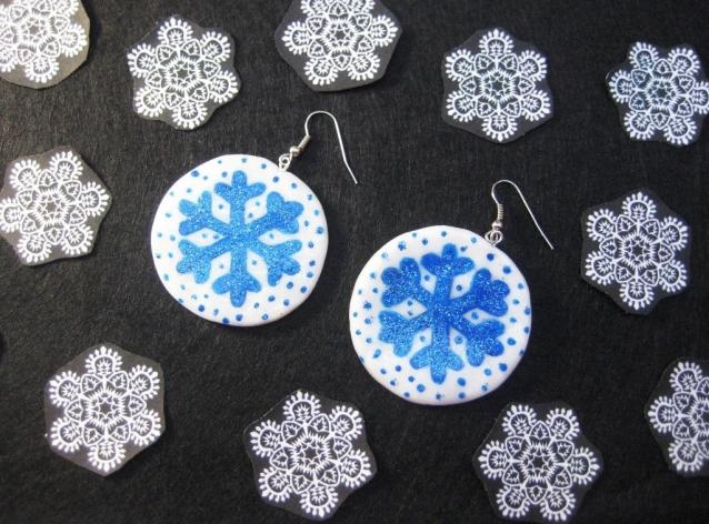 Серьги со снежинками из полимерной глины своими руками. Мастер класс