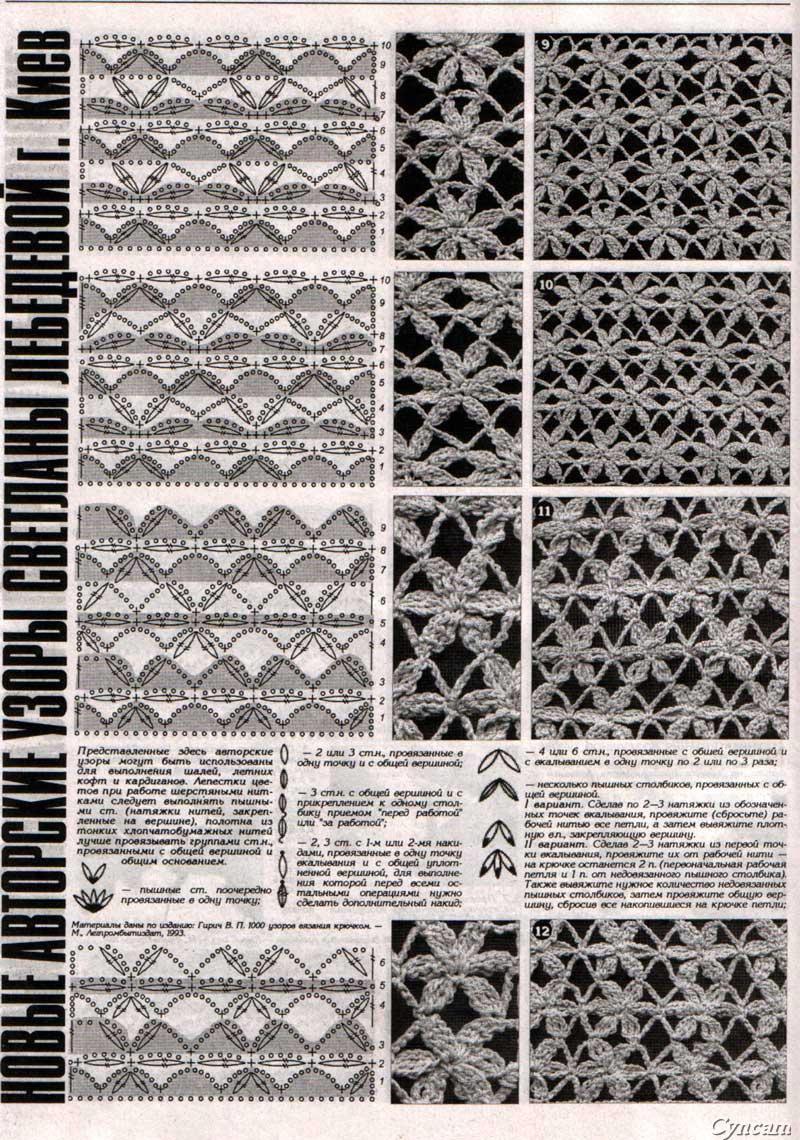 Вязание цветочные узоры крючком схемы 77
