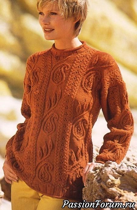 Рыжий свитер, вязание спицами, болталка