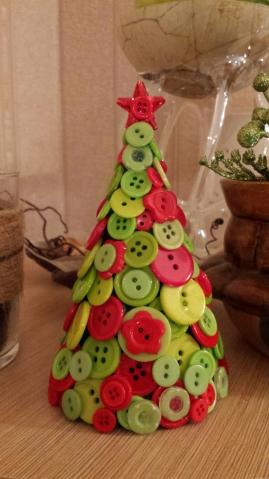 новогодняя елочка из пуговиц и подвеска на елку
