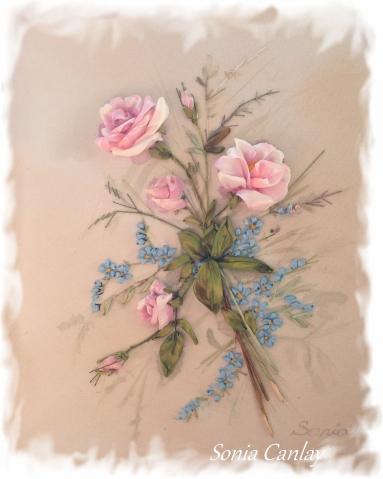 Миниатюрка винтажные розы и незабудки