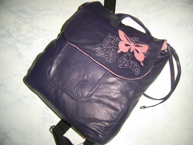 Работа дилетанта - кожаный рюкзачок.