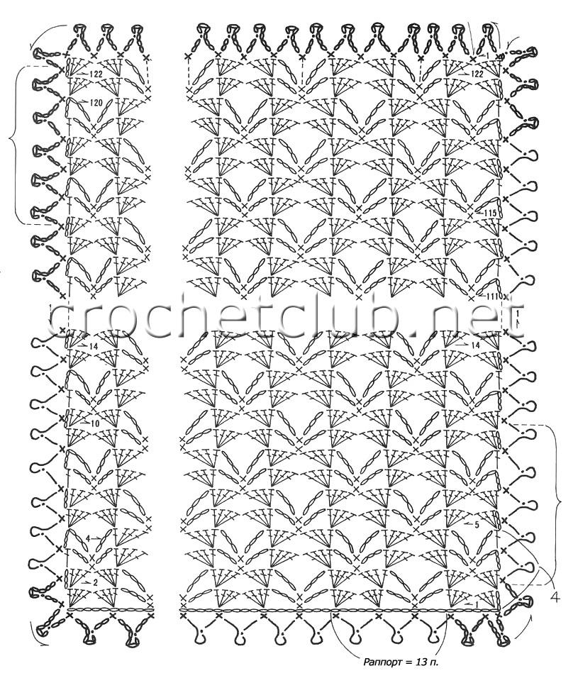 палантины схемы вязания крючком