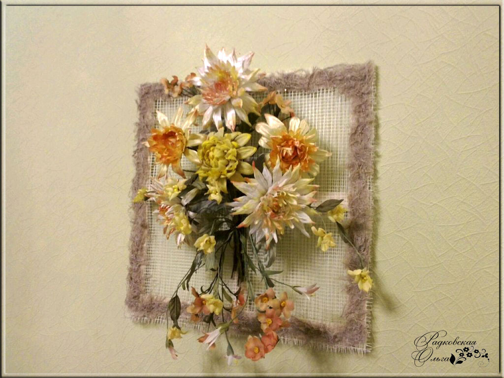 панно цветы из ткани схемы