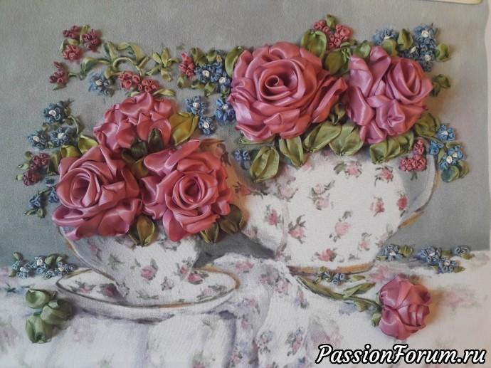 Розы и незабудки. Вышивка шелковыми лентами., вышивка шелковыми лентами