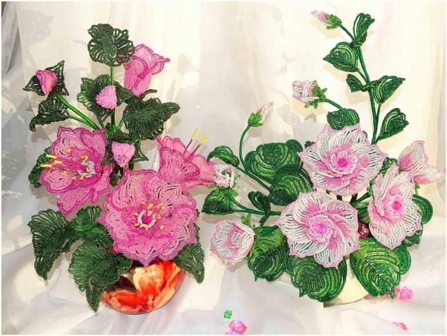 Цветы из бисера новые мастер класс
