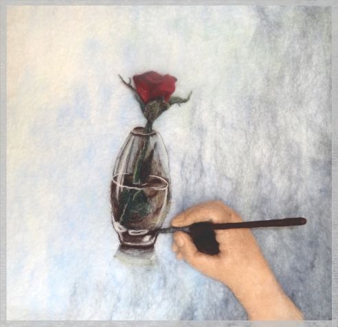 Рисуем розу в стакане. Шерстью.
