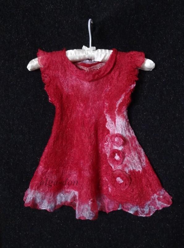 Валяное платьице и шляпка для девочки 9-12 мес.