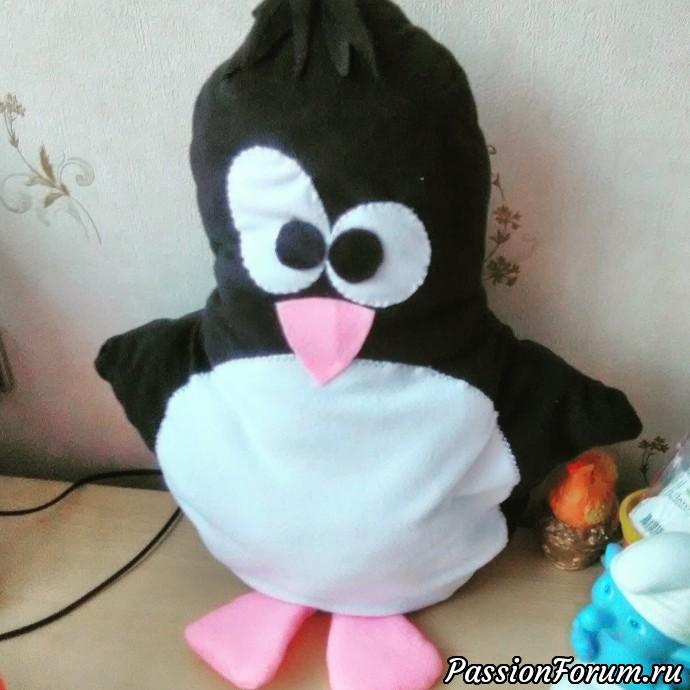Подушки-игрушки, пингвин, енот, сова, подушка-игрушка, подушка