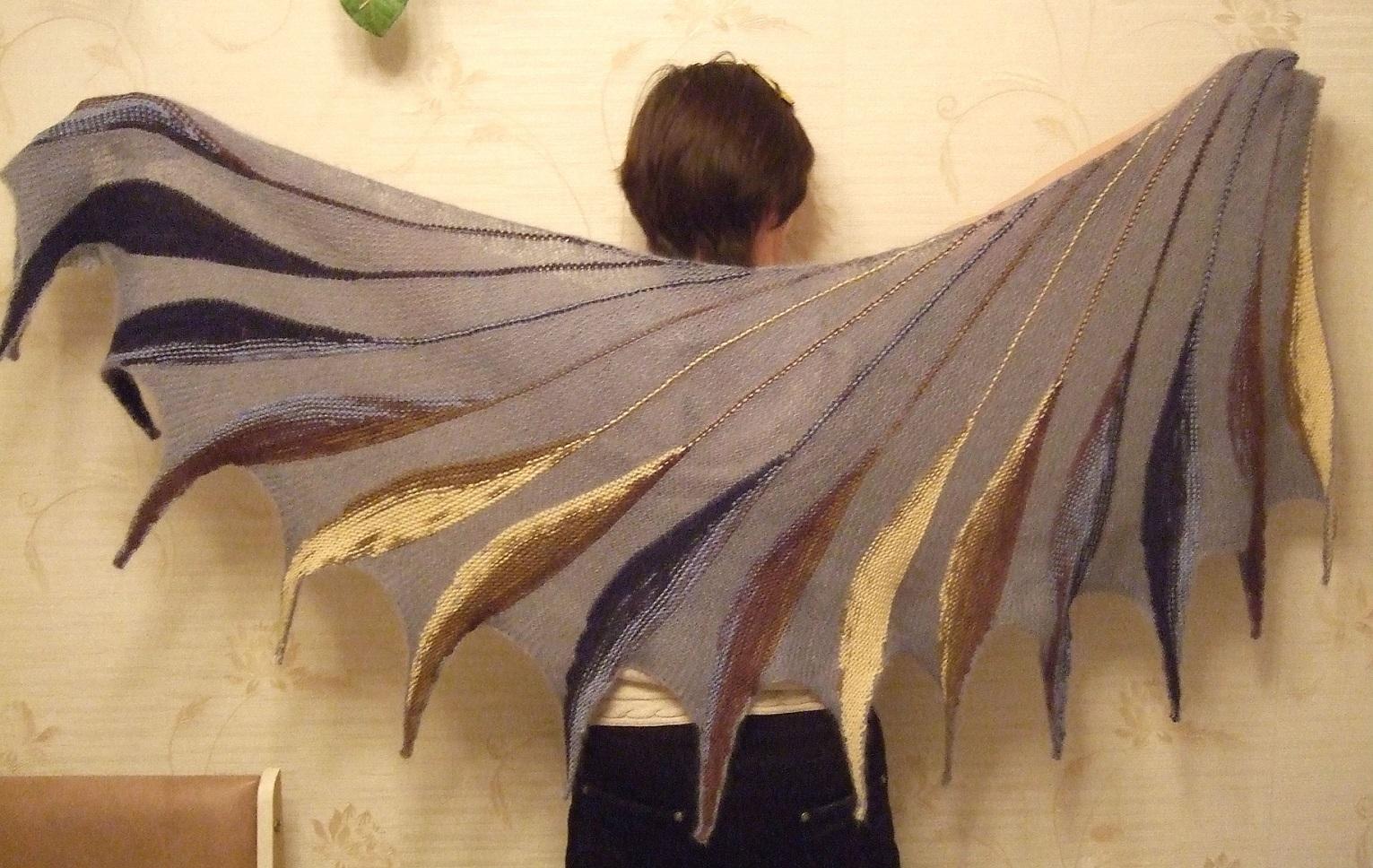 Шаль дивная птица спицами схема и описание
