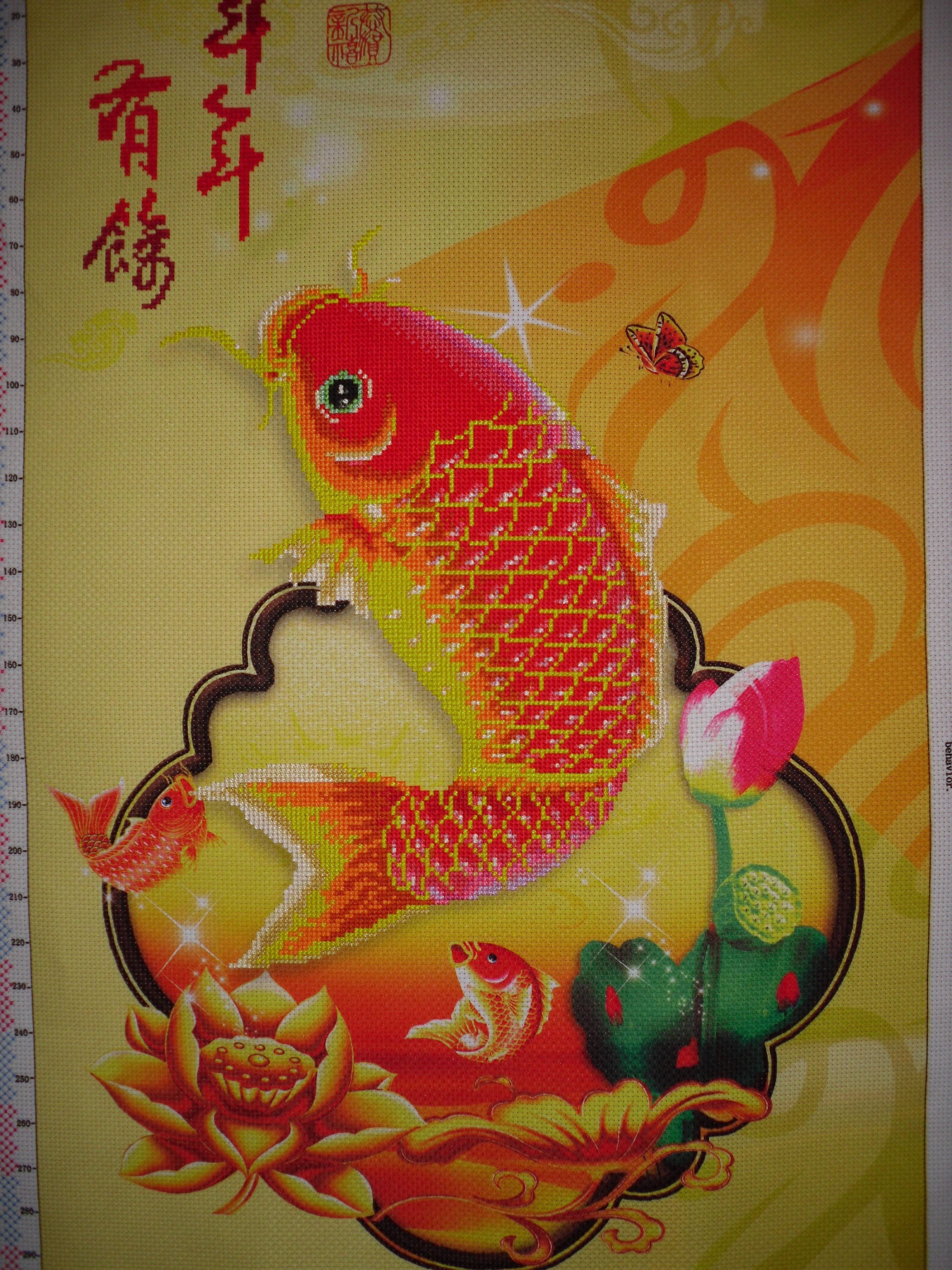 рукоделие схема вышивания золотой рыбки
