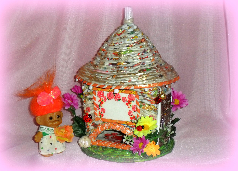 Поделка изделие Плетение Чайный домик Плетение из газет 32