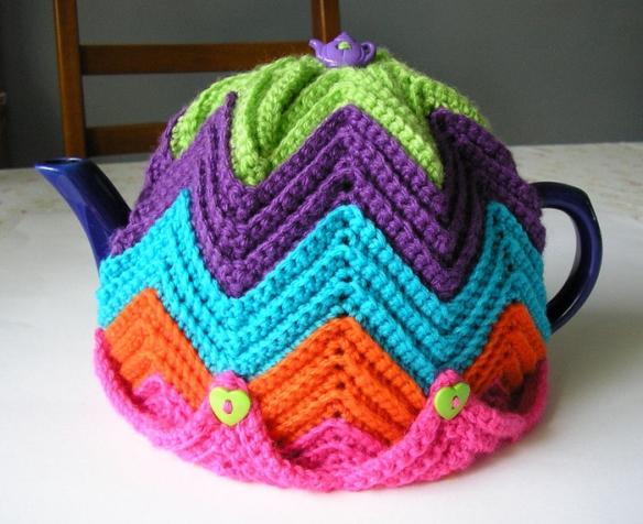 Вязание крючком накидка на чайник 91