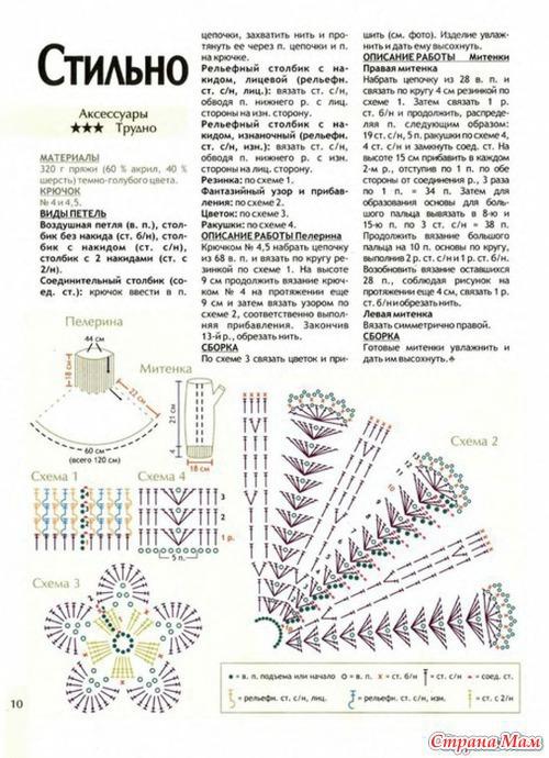 Вязание манишки схема рисунков