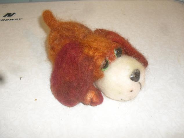 валяная игрушка -рыжая собачка