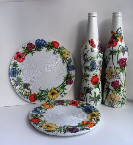 Тарелочки из бумажной лозы с де купажем
