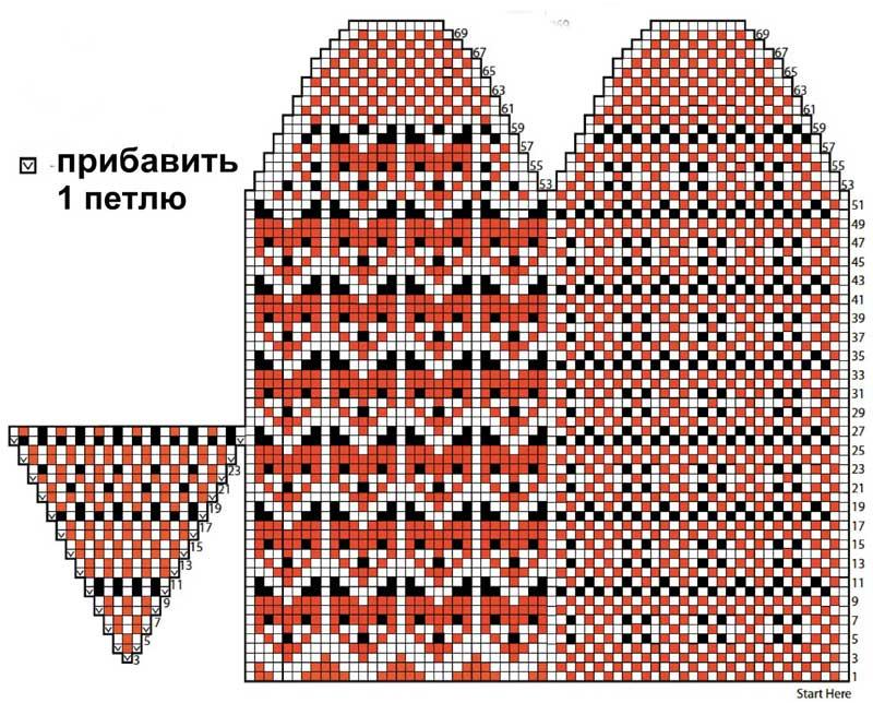 Схема варежек лисички