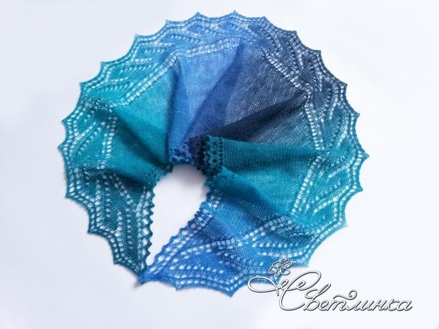 Второй этап совместного вязания шарфа-фишю «От рассвета до заката», дизайнер — Tetiana Otruta.