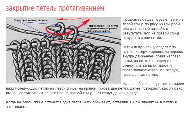 Как правильно закрывать петли при вязании