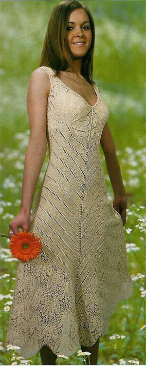 предложенные ажурные женские платья вязаные спицами женщина
