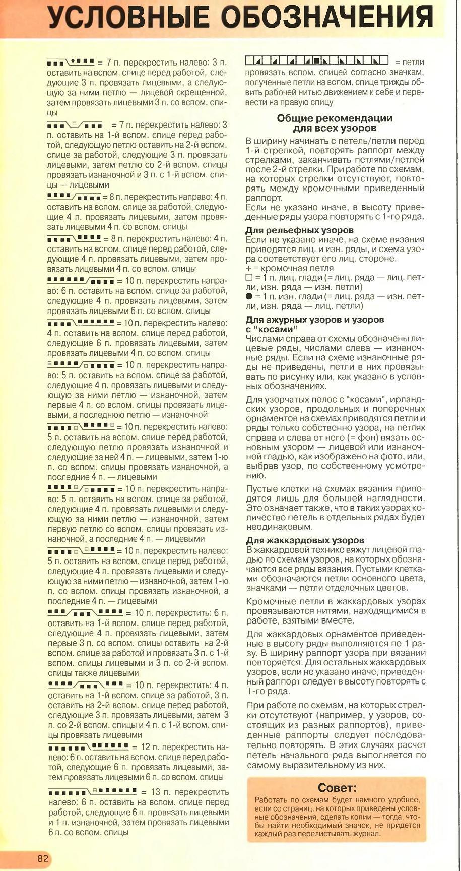 Условные обозначения при вязании спицами из журнала бурда