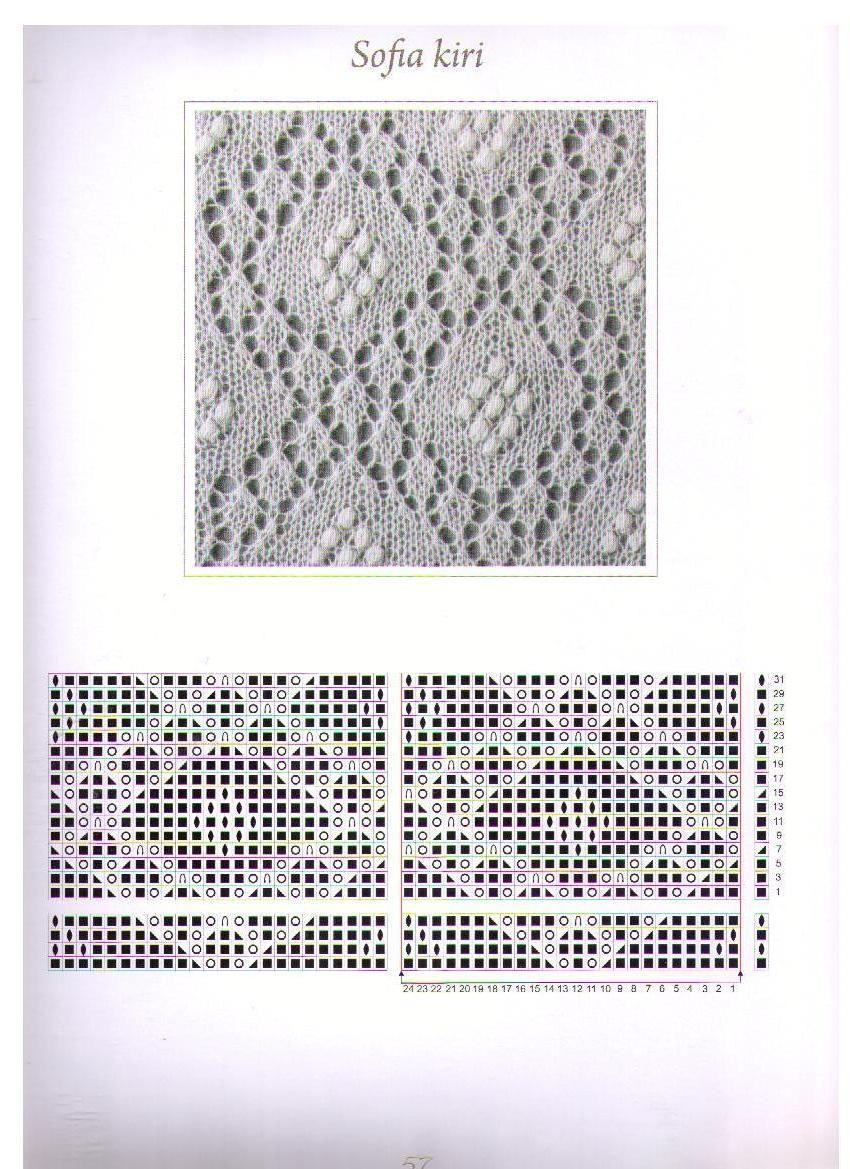 Ажурные узоры для вязания шалей спицами с